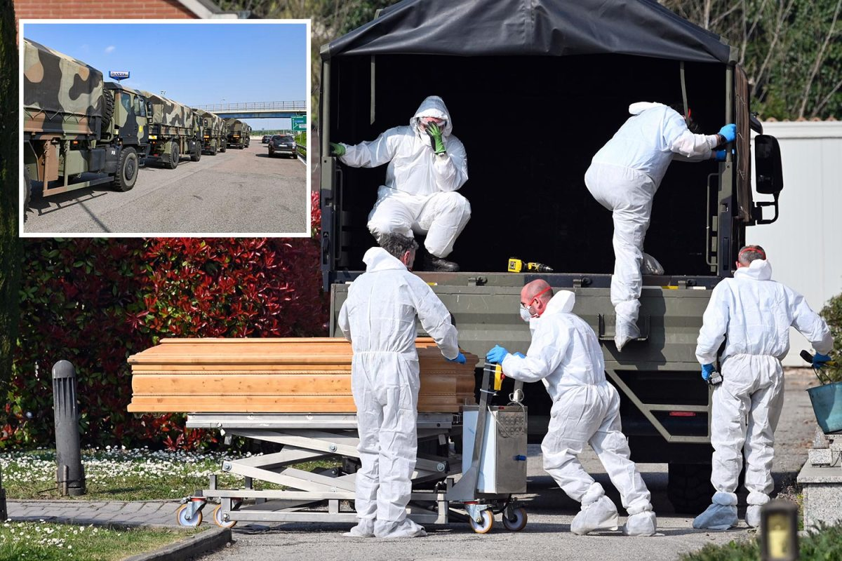 Coronavirus kills 793 people in a single DAY in Italy as convoys of army trucks ferry bodies to cemeteries
