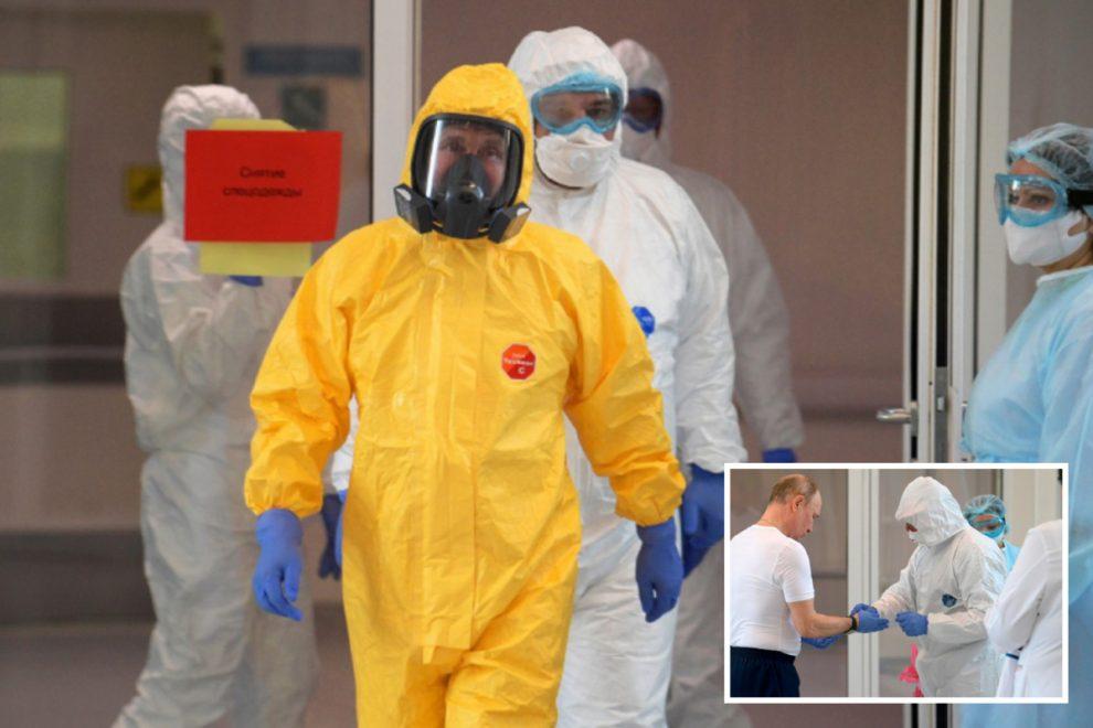 Vladimir Putin, 67, dons hazmat suit to visit coronavirus patients after ignoring lockdown for over-65s