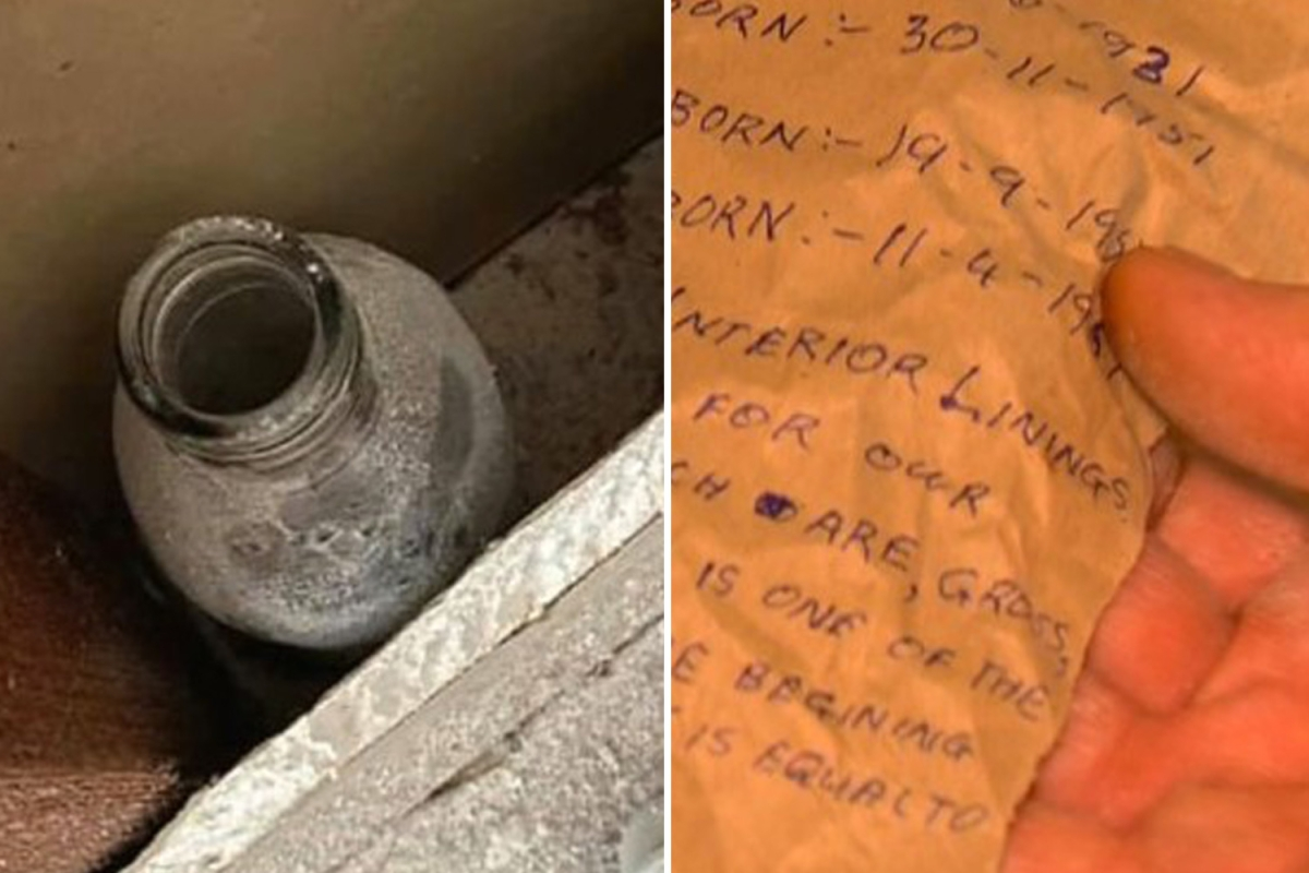 Man stunned to find message in a bottle stashed between walls giving snapshot of life 50 years ago