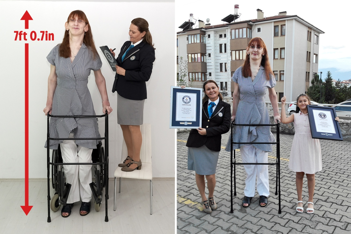 Turkish woman declared the tallest in the world stands at astonishing 7ft 0.7in